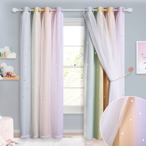 Rainbow Star Cut Out Pattern  Double Layers Sheer Curtain for Baby&Kids Room - 1 Panel