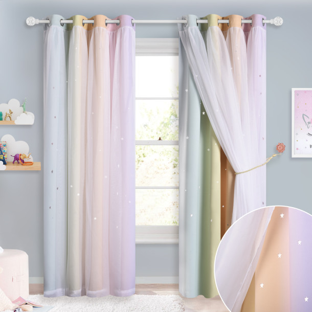 Rainbow stripes,Girls Bedroom Star Cut Out Blackout Window Curtains with White Sheer Double Layers Gradient Multicolor Stripe