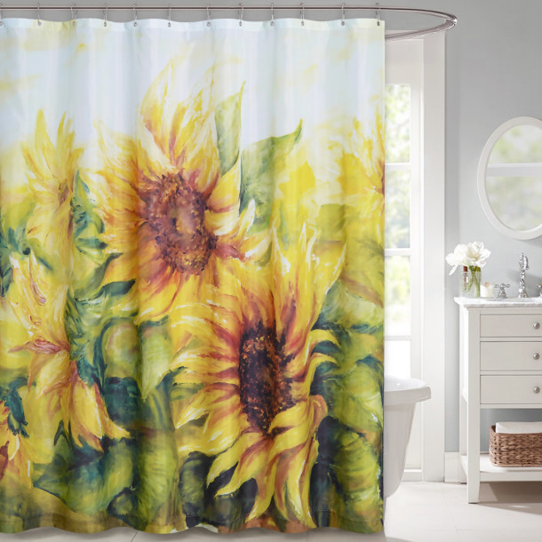 Sunflower Shower Curtain for Bathroom-Yellow Shower Curtain by Nicetown Custom