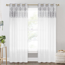 Sheer Curtain with Lace Flower on the Top -1 Panel