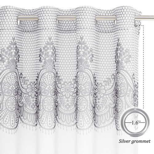 Lace flower top Sheer Curtain-Living Room Window, Sold as 1 Panel