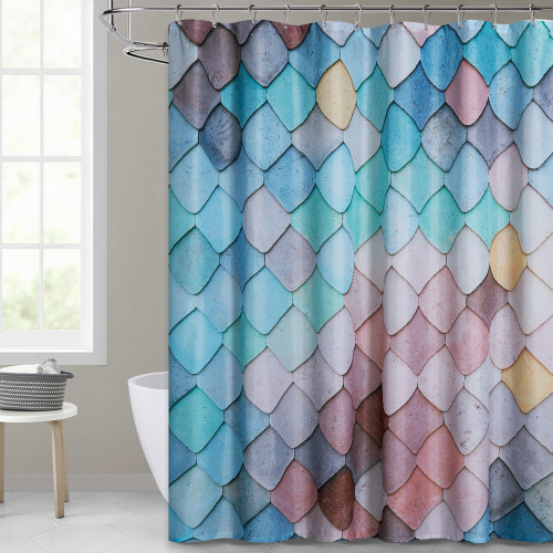 Ocean Fish Scale Pattern Printed Blue Shower Curtain for Bathroom by Nicetown Custom