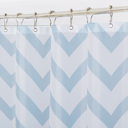 Blue Striped Artistic Bathroom Shower Curtain