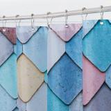 Ocean Fish Scale Pattern Printed Blue Shower Curtain for Bathroom by Nicetown Custom