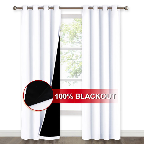 2 Layers 100% BlackoutThick Thermal Insulated Curtain (1 Panel)