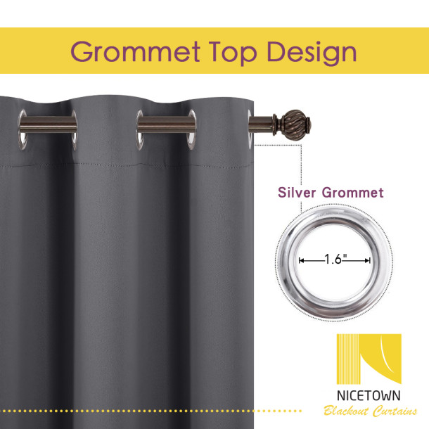 NICETOWN Blackout Thermal Insulated Grommet Curtain Panel for Living Room Bedroom Nursery, Sold as 1 Panel