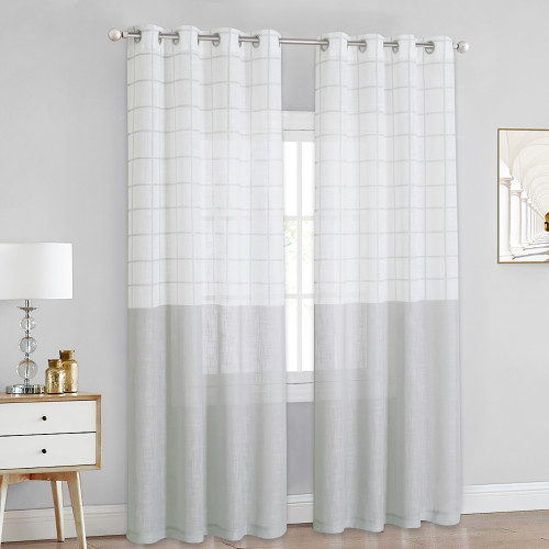 Lattice Pattern Linen Textured Window Curtain for Bedroom, Sold as 1 Panel