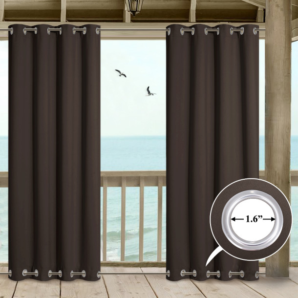 Extra Wide Outdoor Patio Curtain Windproof Waterproof  Double Grommets, Thermal Insulated Room Darkening Top & Bottom Grommets Drape, Sold as 1 Panel