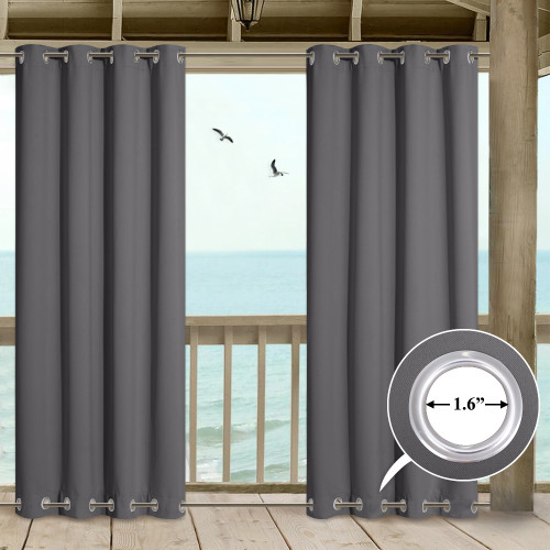 Windproof Outdoor Curtains with Top & Bottom Grommets for Porch, Patio Door(1 Panel)