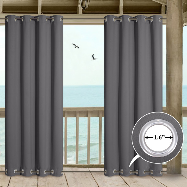 Outdoor Patio Curtains Windproof  Darkening Top & Bottom Grommets Drape,Sold as 1 Panel