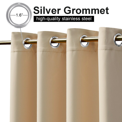 Outdoor Patio Curtains Windproof waterproof Double Grommets, Thermal Insulated Room Darkening Top & Bottom Grommets Drape,Sold as 1 Panel
