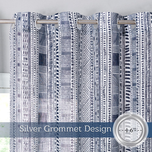 Bohemia Pattern Linen Textured Window Curtain for Bedroom, Sold as 1 Panel