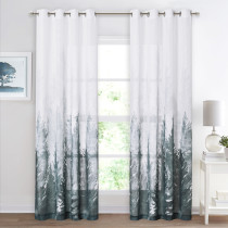 Deep Forest Pattern Linen Textured Window Curtain for Bedroom, Sold as 1 Panel