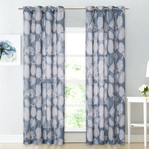 Flower Pattern Linen Textured Semi-Sheer Curtain - 1 Panel