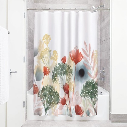 Colored Plants Artistic Bathroom Shower Curtain