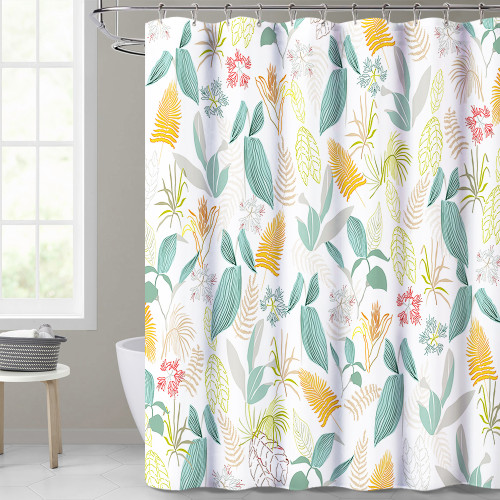 Tropical Green Leaf White Shower Curtain for Bathroom by NICETOWN Custom