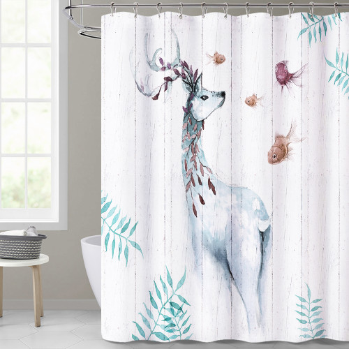 Golden Deer Artistic Bathroom Shower Curtain