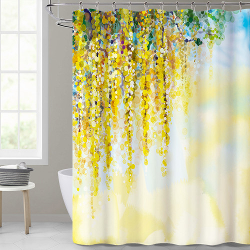 Watercolor Dripping Dot Artistic Bathroom Shower Curtain