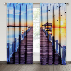 Lake Corridor, Thermal Insulated Window Treatment Backdrop for Office/Sitting Room, Sold as 2 Panels