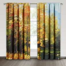 Oil Painting Deep Forest, Thermal Insulated Window Treatment Backdrop for Office/Sitting Room, Sold as 2 Panels