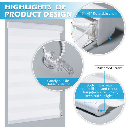 Zebra Dual Layer Shades Roller Window Blinds, Sheer or Privacy Light Control for Day and Night