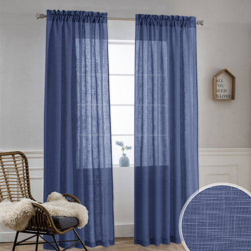 Faux Linen Sheer Curtain - Privacy Semitransparent Light Filtering Semi Voile Sheer Drapes for Bathroom,Sold as 1 Panel