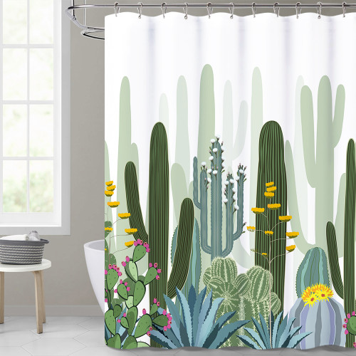 Tropical Cactus Pattern White Shower Curtain for Bathroom by Nicetown Custom