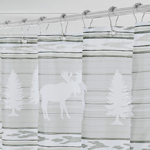 Farmhouse Boho Grey Shower Curtain for Bathroom-Forest Animals by Nicetown Custom