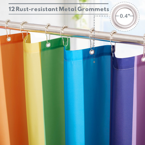 Vertical Rainbow Colorful Unique Shower Curtain for Bathroom by Nicetown Custom