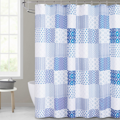 Farmhouse Boho Blue Shower Curtain for Bathroom by Nicetown Custom