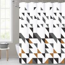 Modern Scattered Geometry White Shower Curtain for Bathroom by Nicetown Custom
