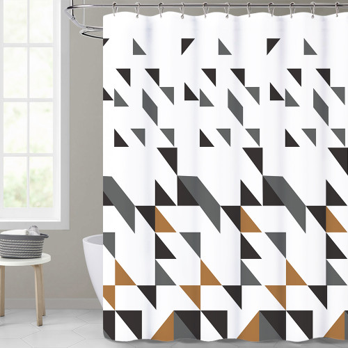 Modern Scattered Geometry White Shower Curtain for Bathroom by Nicetown Custom
