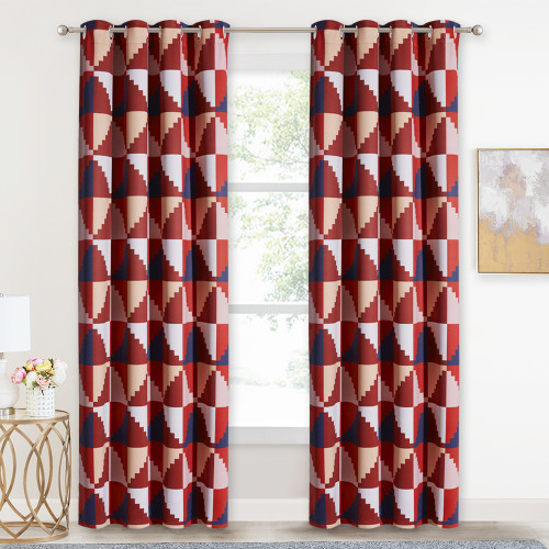 Custom Trapezoidal Geometry Pattern Printed Thermal Insulated Blackout Room Darkening Curtain for Bedroom by NICETOWN ( 1 Panel )