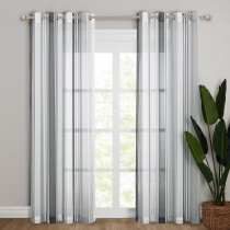 Stripe Pattern Linen Semi-sheer Curtain - 1 Panel