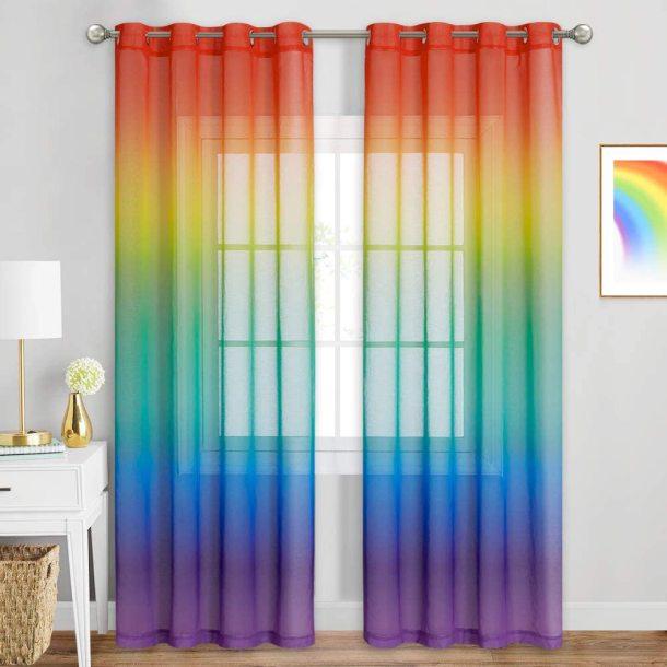 Rainbow Sheer Curtain-Living Room Window, Sold as 1 Panel