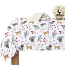 White Christmas tablecloth for Rectangle Table