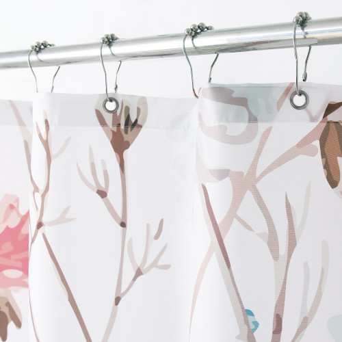 NICETOWN GIFT Floral Printed Shower Curtain, Country Flower and Leaves Style