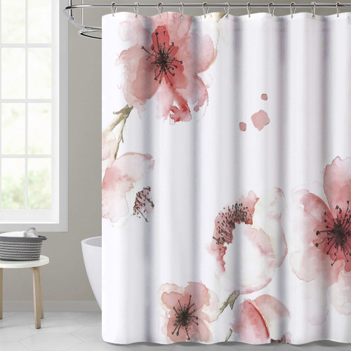 NICETOWN GIFT Pink Flower Shower Curtain