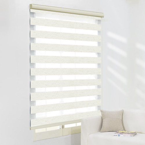 Zebra Roller Blinds, Dual Layer Shades, Sheer or Privacy Light Control, Day and Night Window Drapes