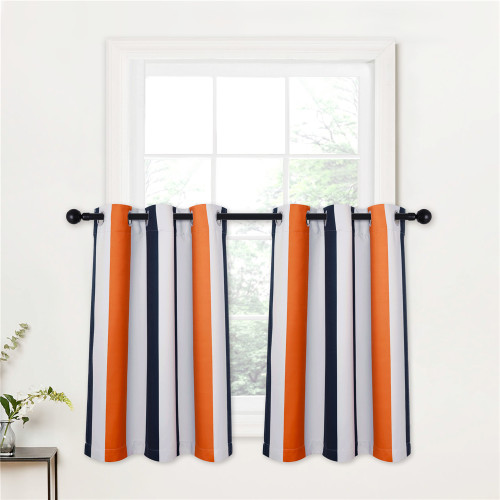 Custom Contrast Stripes Pattern Tier Short Room Darkening Curtain for Kitchen by NICETOWN ( 1 Panel )