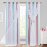 Custom Ombre Rainbow Double Layers Blackout Curtain with White Sheer Layer Overlay Thermal Insulated Layer / Star Cut Blackout Curtain by NICETOWN ( 1 Panel )