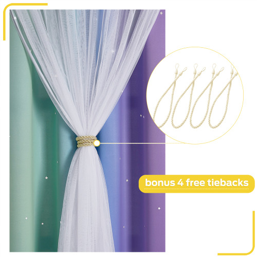 Rainbow Stripes,Star Cut Out Blackout Window Curtains with White Sheer Double Layers Gradient Multicolor Stripe