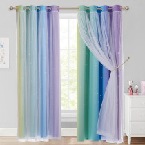Custom Gradient Rainbow Double Layers Blackout Curtain with White Sheer Layer Overlay Thermal Insulated Layer / Star Cut Blackout Curtain by NICETOWN ( 1 Panel )