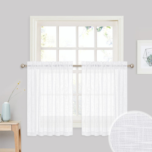 Faux Linen Textured Sheer Tier - Semilucent Small Window Valances Voile Sheer Panel, Sold as 1 Panel