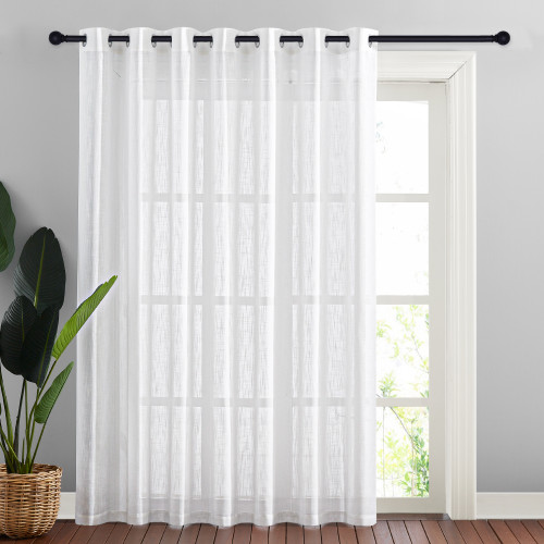 Linen Sheer Curtains Extra Wide for Sliding Door, Semitransparent Privacy with Light Filter Room Divider,Sold as 1 Panel