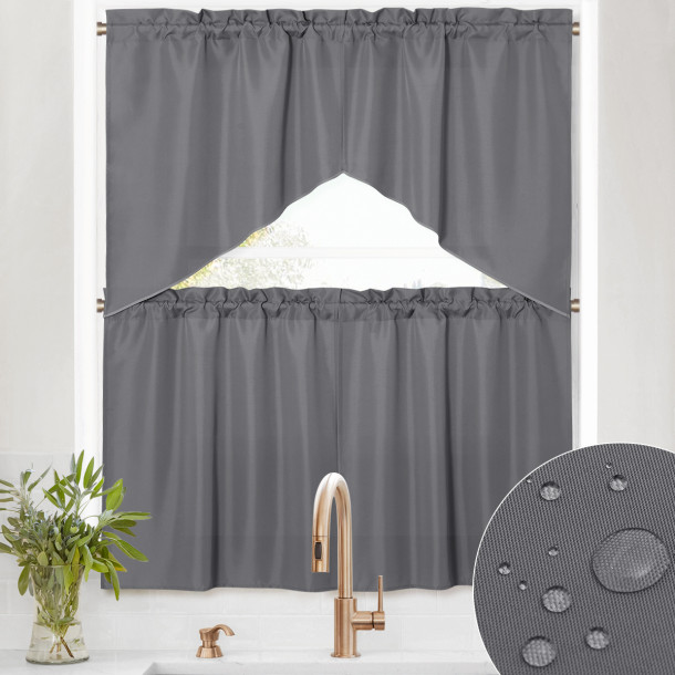 Layered And Drapery Curtains - 4 Panel Window Top And Half Curtain Layer Waterproof And Scratch Resistant