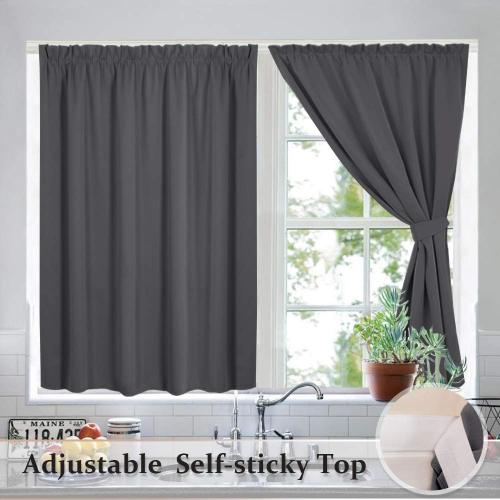Adjustable Width Privacy Curtain Hang with Sticky Strap - Set of 2 Panels