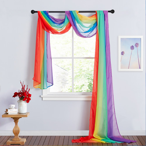 Rainbow Scarf Curtain Sheer Voile Scarf Window Valance