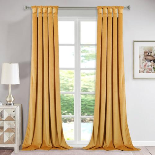 Solid Velvet Blackout Curtain Drapery (One Panel)