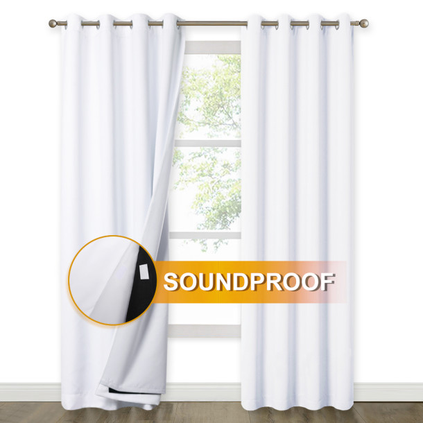 NICETOWN 3 Layers 100% Blackout Soundproof Curtain,Grommet,Grey, (2 Layers of Blackout Fabric & 1 Layer of Sound Absorbent Cotton)(1 Panel)
